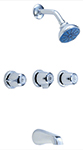 Gerber 48-030 Gerber Classics Three Handle Threaded Escutcheon Tub & Shower Fitting With Ips/Sweat Connections & Threaded Spout (2.0gpm)
